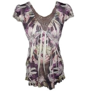 Live and Let Live colorful stretchy blouse